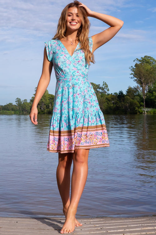 Sea Breeze Bahama Blues Wrap Dress