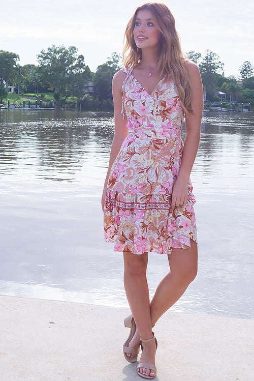Sea Breeze Protea Pink Wrap Dress