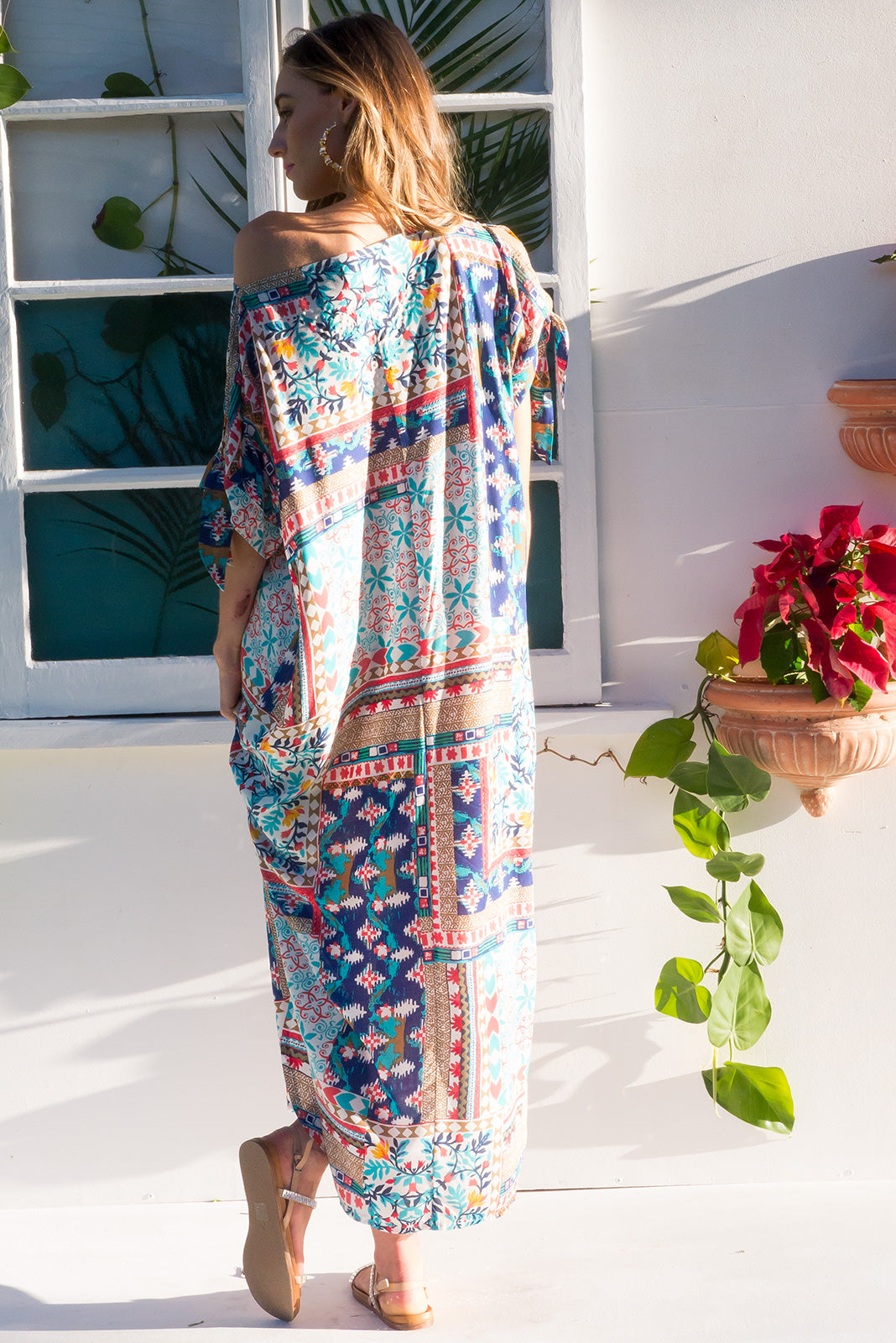 Sea Glass Caftan in a Mediterranean inspired print with split tie sleeve and diamante sparkle embellishment, plus size fashion, easy fit summer style