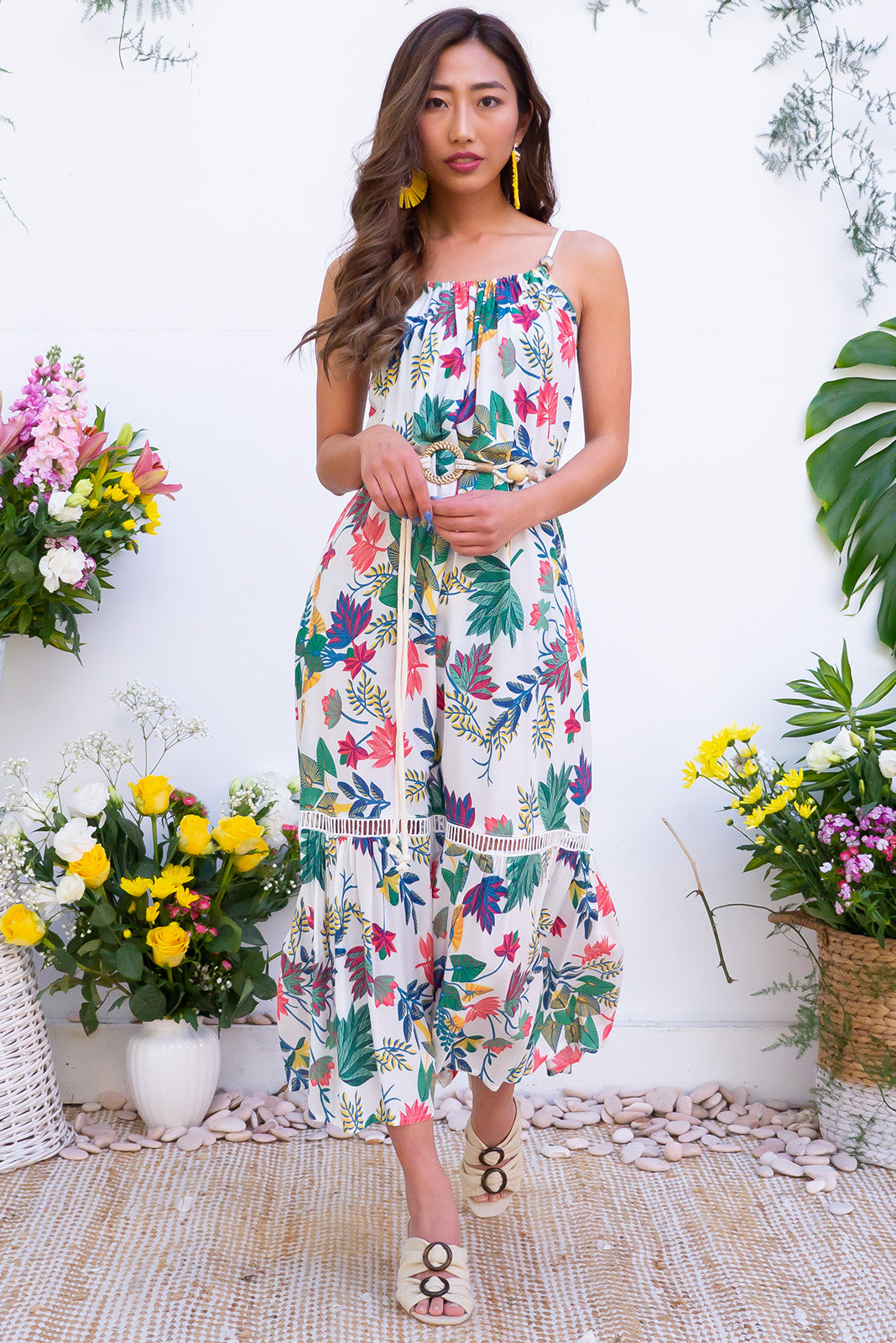 Soleil Fantails Maxi Dress - A crisp white and tropical print strapless summer dress. Featuring bright colours on a white base rayon fabric. Adjustable neck tie with beads.