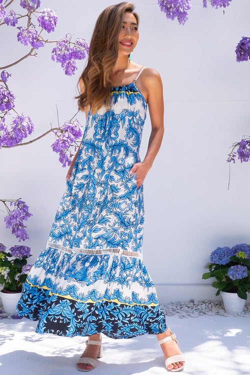 Soleil Lagoon Blue Maxi Dress