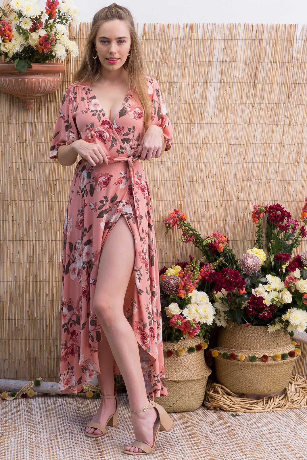 Spice Dusty Roses Maxi Wrap Dress with a soft petal sleeve in a romantic dusty pink romantic rose print on a crinkle rayon