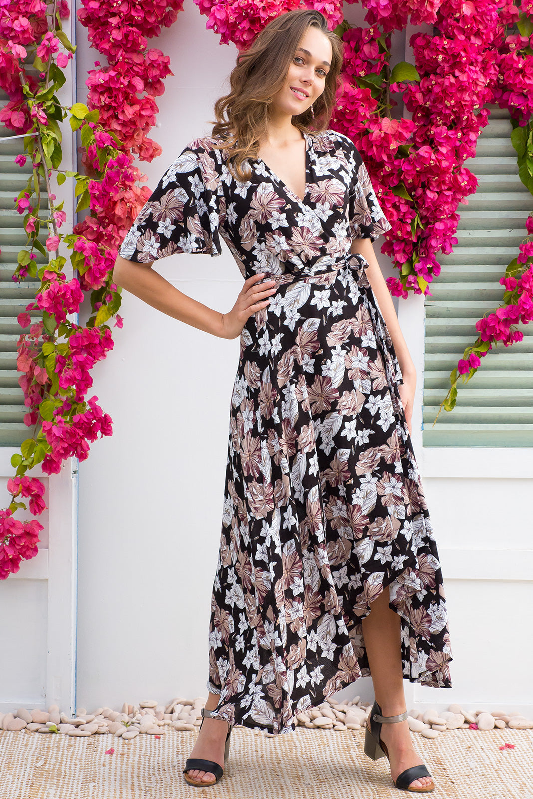 Spice Enchanted Garden Maxi Wrap Dress with a soft petal sleeve in a black and neutral tone etched floral print on a crinkle rayon in a boho vintage style