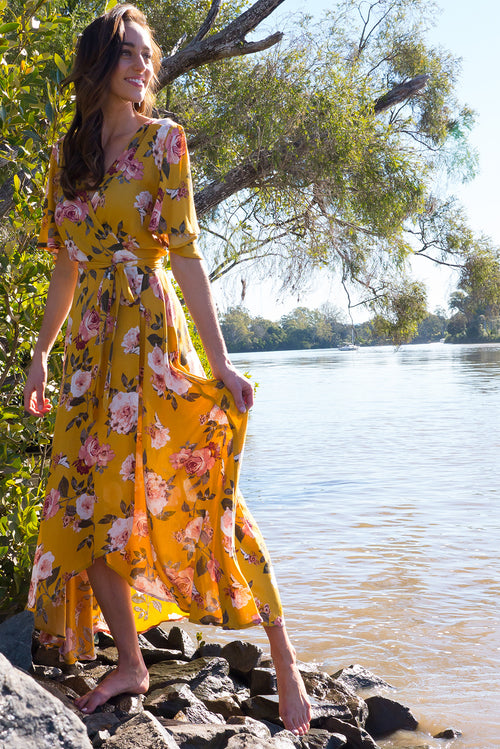 Spice Golden Canary Maxi Wrap Dress