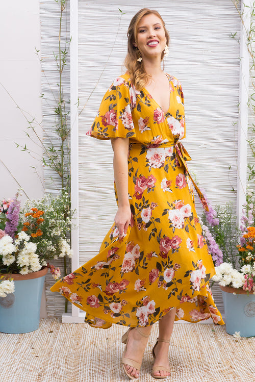 Spice Golden Roses Maxi Wrap Dress