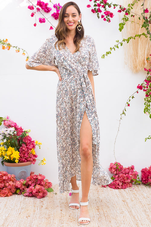 Spice Sky Vines Maxi Wrap Dress