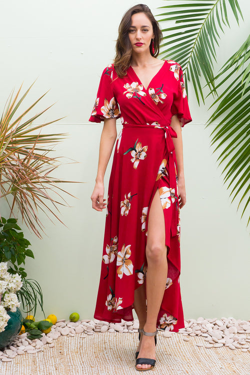 Spice Valentine Maxi Wrap Dress