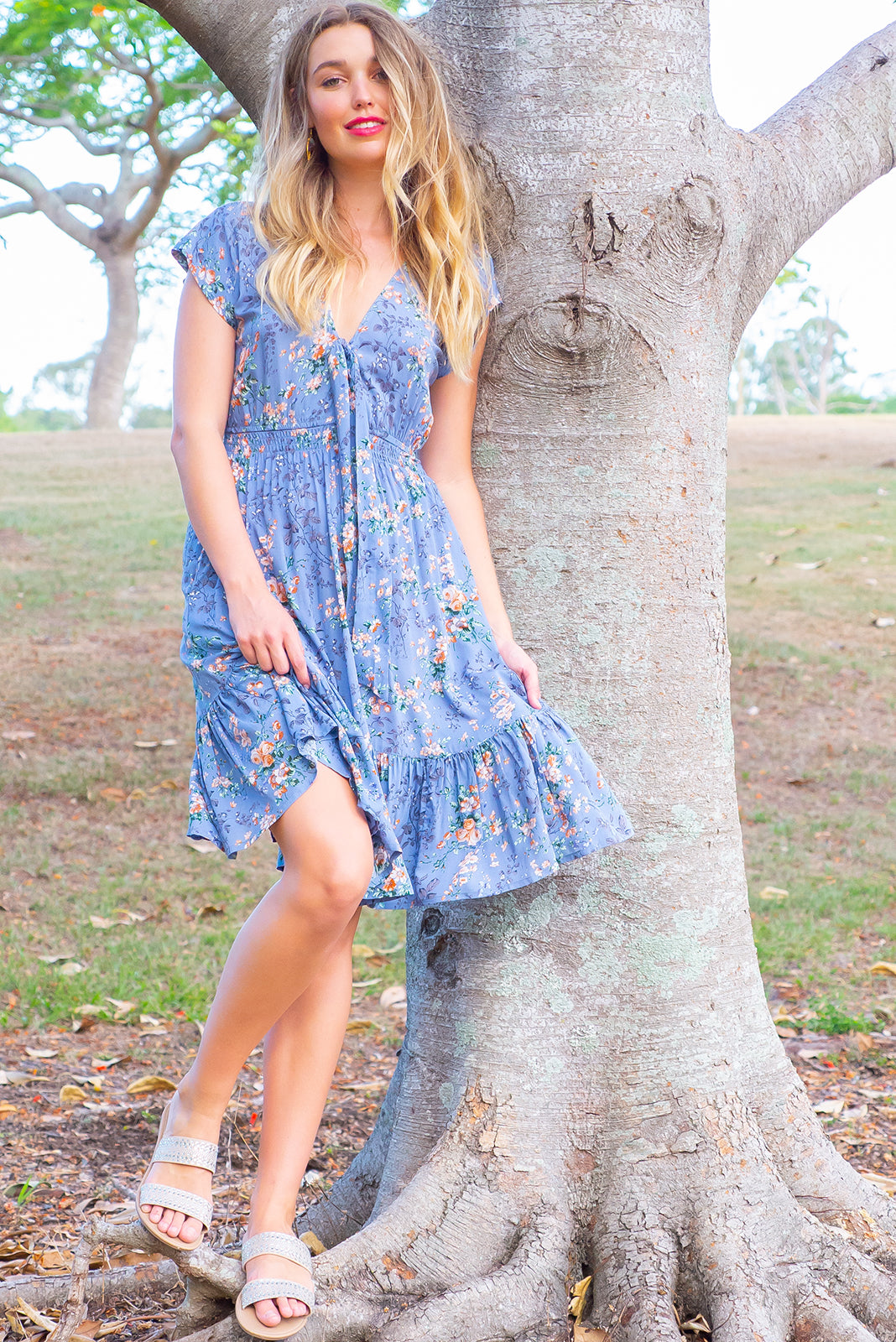Stella Cornflower Blue Dress Maxi dress features elasticated empire line with a cap sleeve and deep v neck the fabric is a soft woven rayon in a delicate cornflower blue floral print