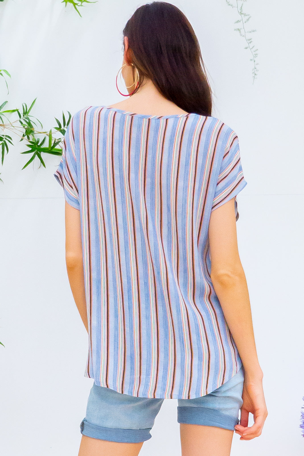 Sugar High Oceania Stripe crinkle rayon relaxed fit longline boho top in a cool toned vertical stripe print