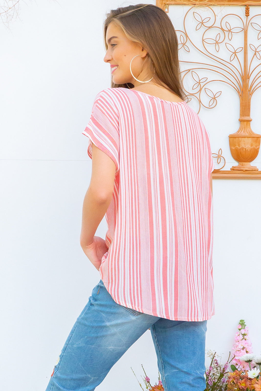 Sugar Orangina Top crinkle rayon relaxed fit longline boho top in a cool coral and white stripe crinkle rayon