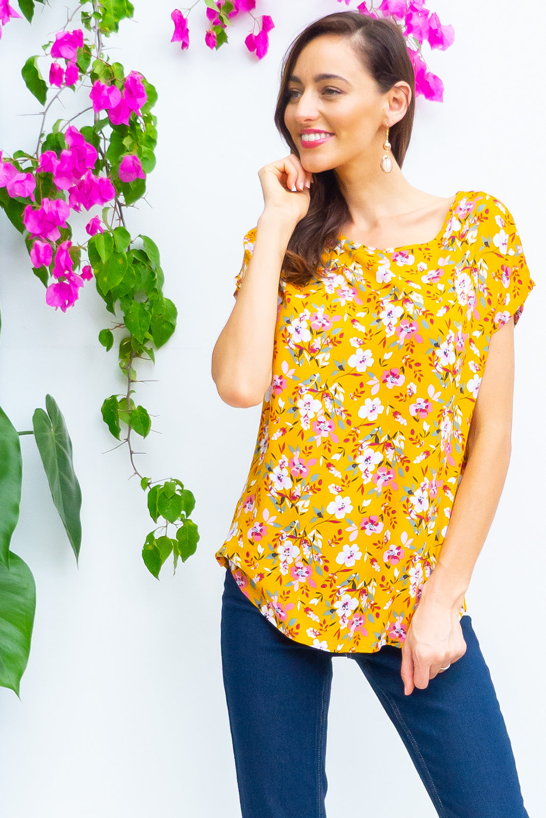 Sugar High Starburst rayon relaxed fit longline boho top in a warm golden yellow and multicoloured floral print