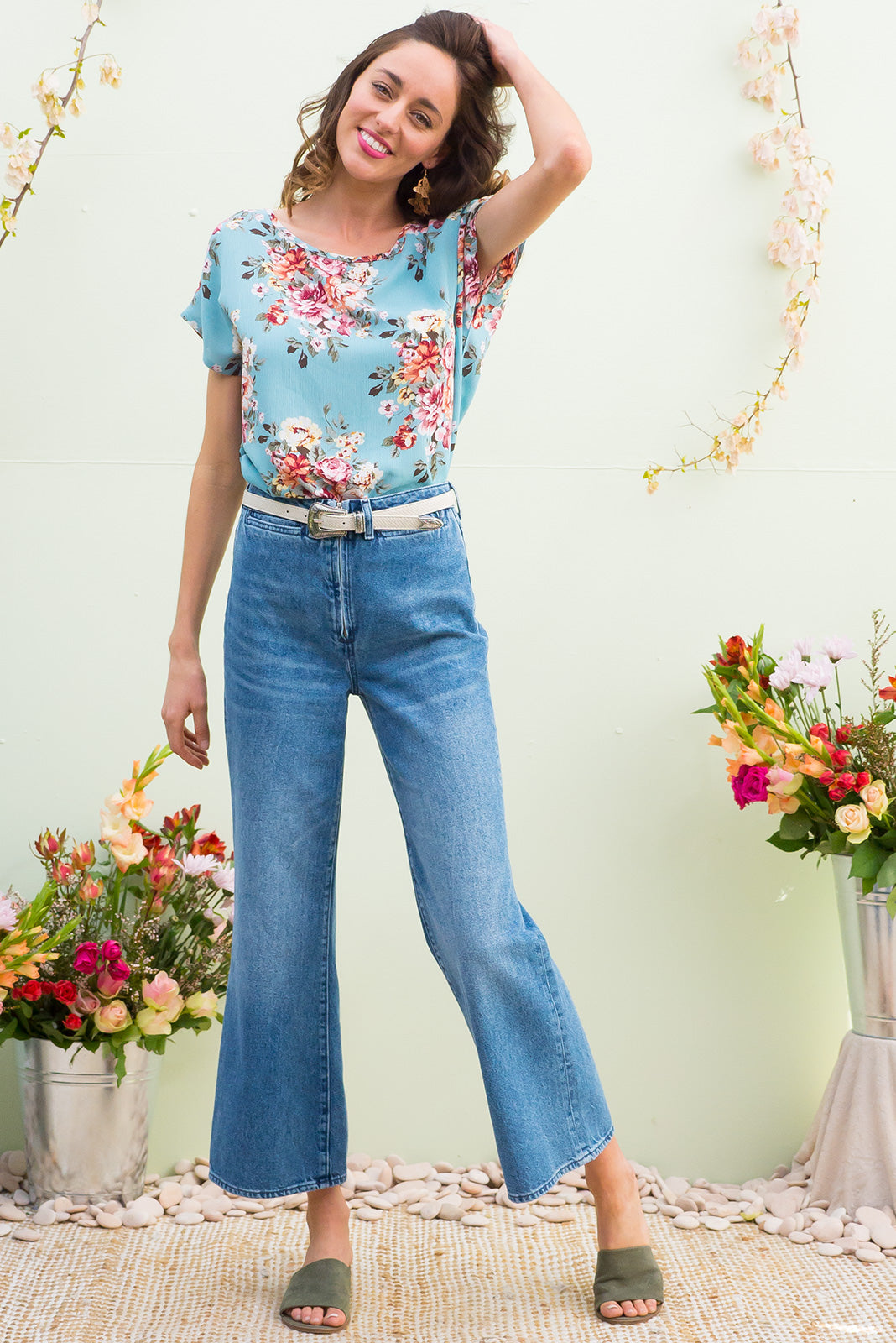 Sugar High crinkle rayon relaxed fit longline boho top in a romantic rose floral print on warm sky blue