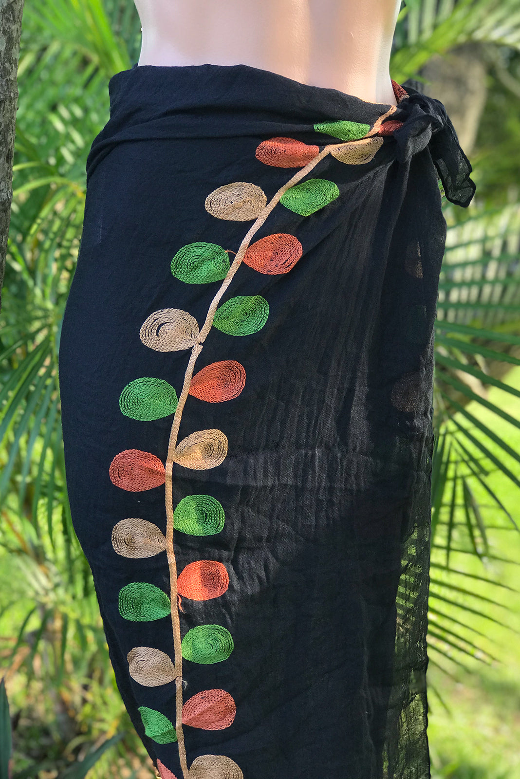 Summer scarf Embroidery is a statement scarf coming in 2 colours, black base or Ecru base with terracotta and green embroidery.