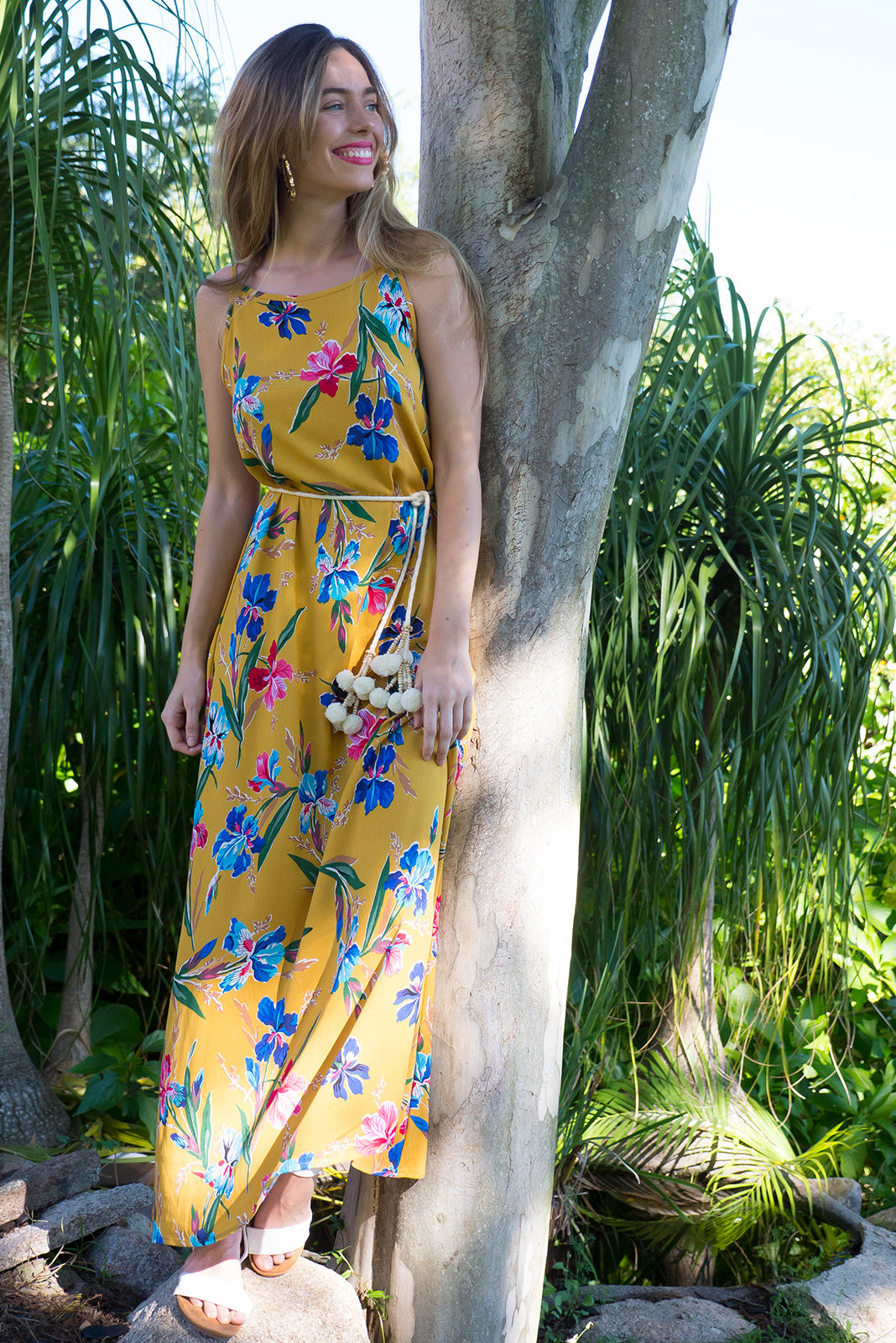 Summer Ballad Golden Iris Maxi Dress in a line shape with side pockets in a deep golden yellow iris print crinkled rayon, plus size fashion, summer dress