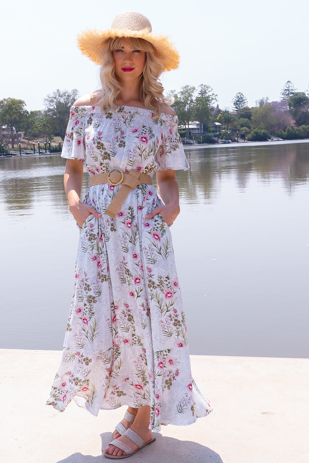 Surfmist Coconut Ice Maxi Dress, bohemian summer style, 100% rayon, off the shoulder style, soft elastic ruching gently holds dress across the shoulders, side pockets, elastic waist, soft white base with medium fuchsia, soft pink and khaki floral print.