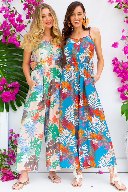 Sweet Caroline Teal Jungle Jumpsuit
