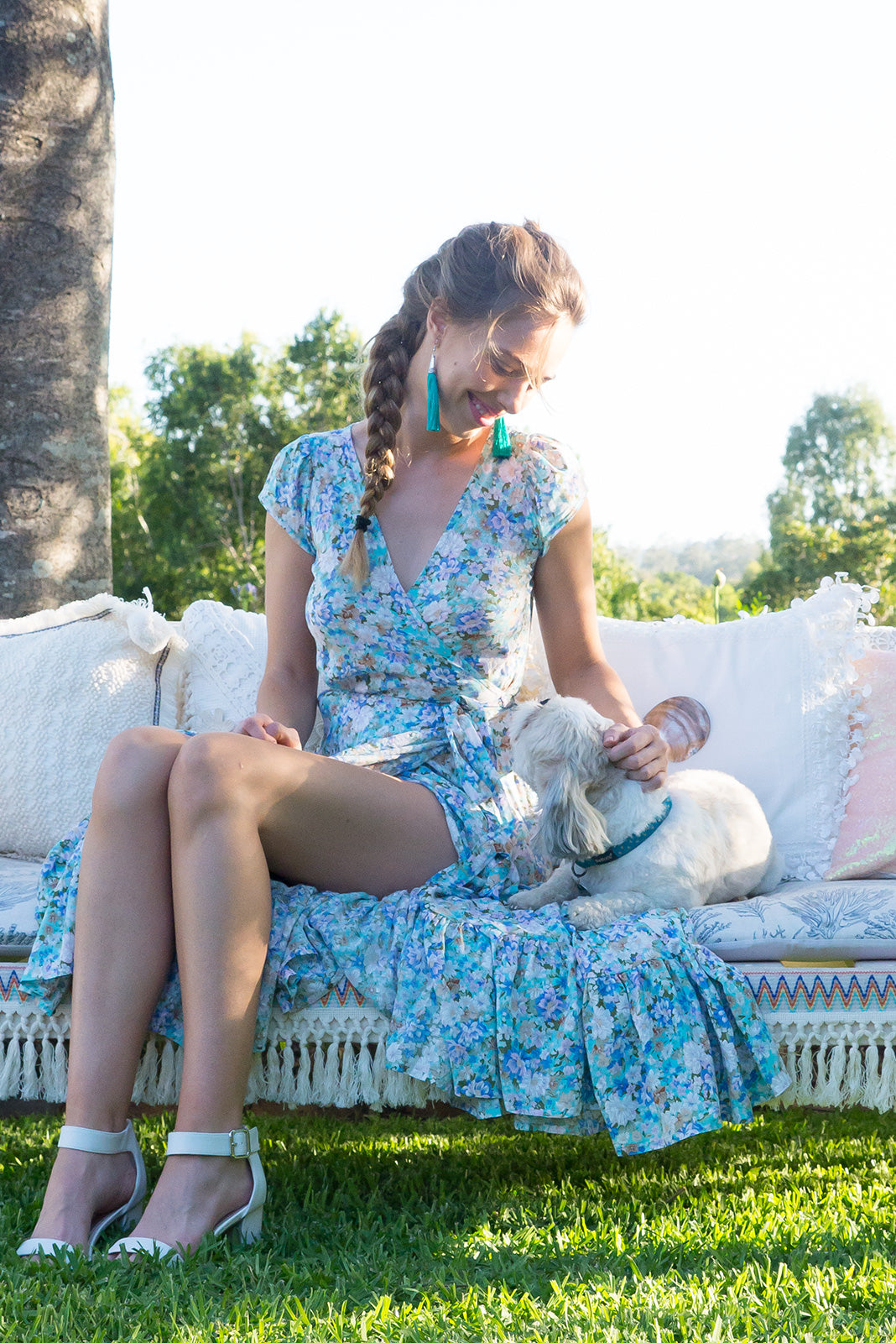 Symphony Breezy Blue Maxi Wrap Dress with a fitted bodice, cap sleeve and frill around the hem in a sweet minty blue floral print, boho style summer dress