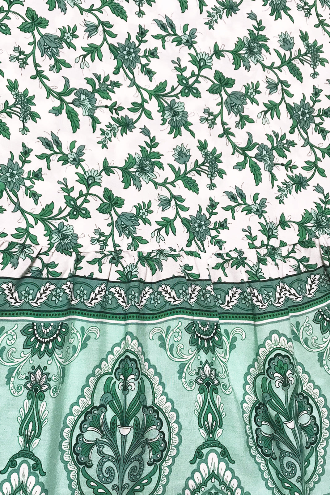 Fabric swatch of Tamara Fern Green Wrap Dress is white base with intricate mint and green print in woven 100% rayon.