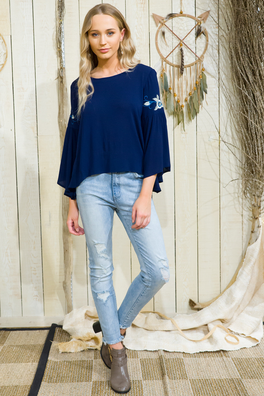 Toledo Navy Top with bell sleeves