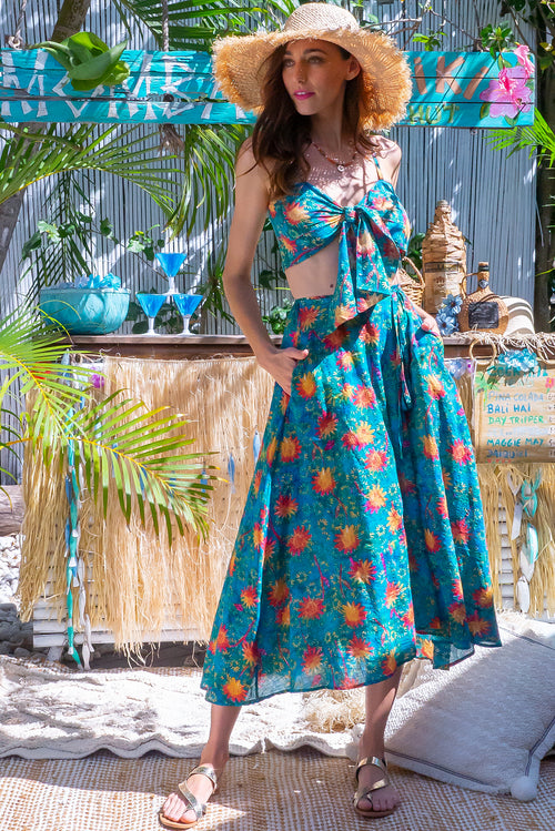 Toucana Teal Sunrise Wrap Skirt