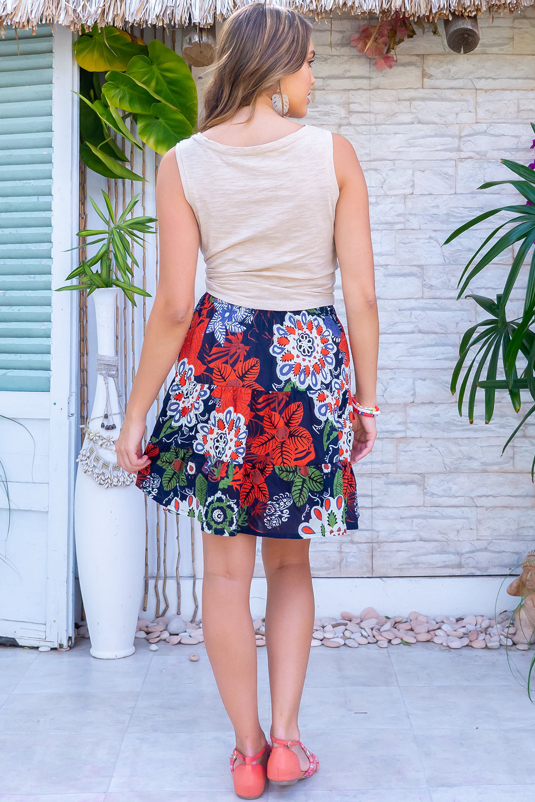 The Valencia Ankara Noir Mini Skirt is a comfortable pull-on style skirt featuring tiered for flirty fullness, side pockets and 100% cotton in ink base with large, bold print.