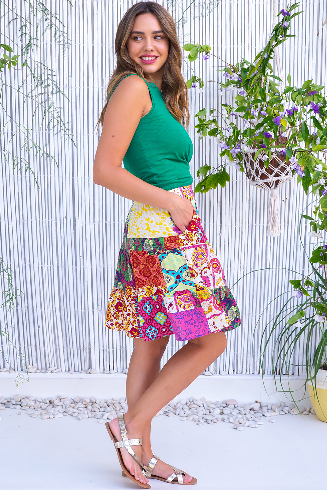 The Valencia oasis Party Mini Skirt features elasticated back waistband, comfortable pull-on style, tiered for flirty fullness, side pockets and 100% cotton in multicoloured patchwork print.