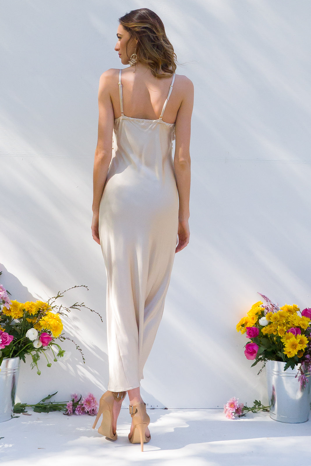Venus Pale gold satin maxi  formal slip dress
