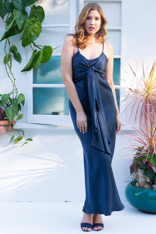 Venus Maxi Dress Navy Satin