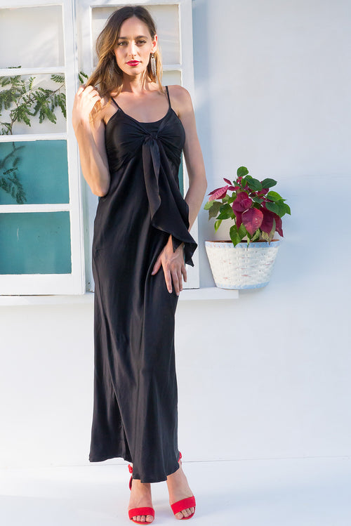Venus Maxi Dress Noir Satin