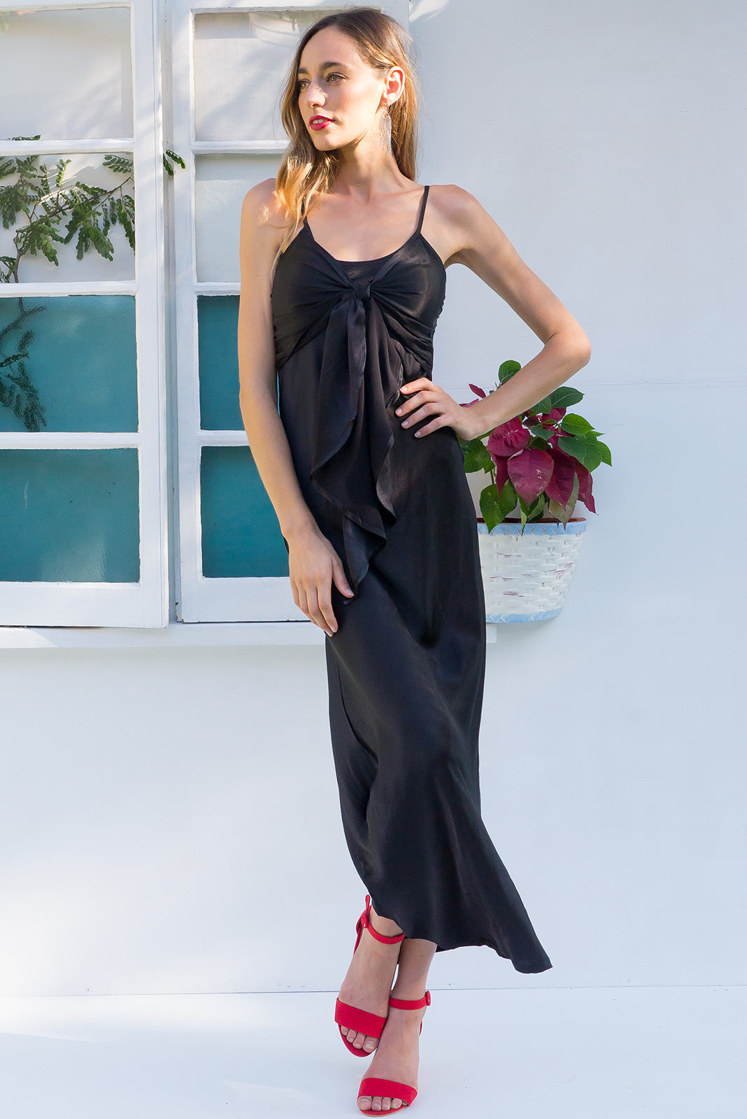 Venus bias cut satin crepe maxi dress with a front tie and adjustable straps in black
