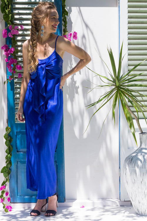 Venus Maxi Dress Royal Blue Satin