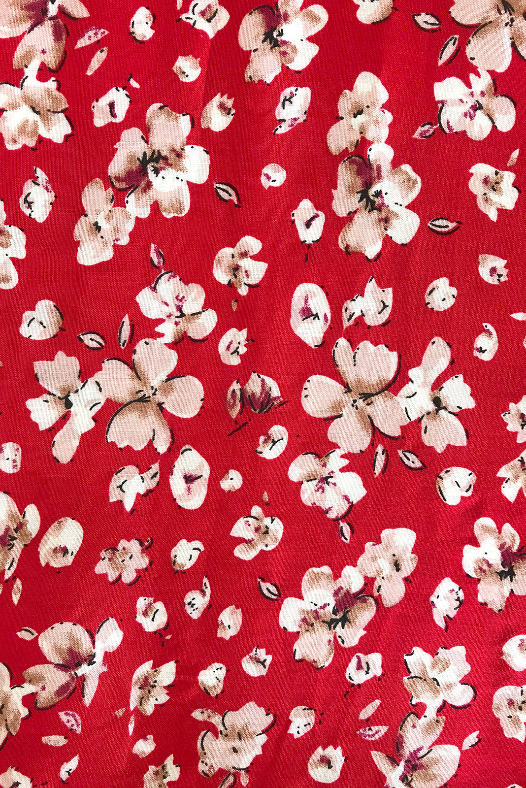 Fabric Swatch of Viva Ruby Red Dress featuring 100% rayon in red floral print.