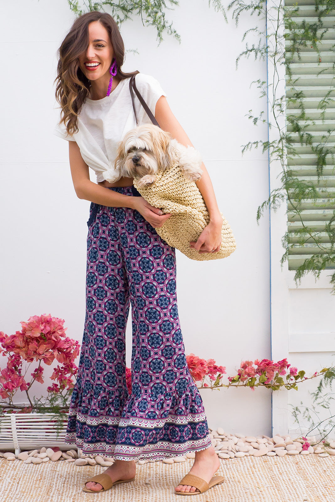 Wandering Pants Adventure Blue feature a slim leg with a wide frill around the hem for a retro vintage style, boho inspired border print design is printed onto woven rayon