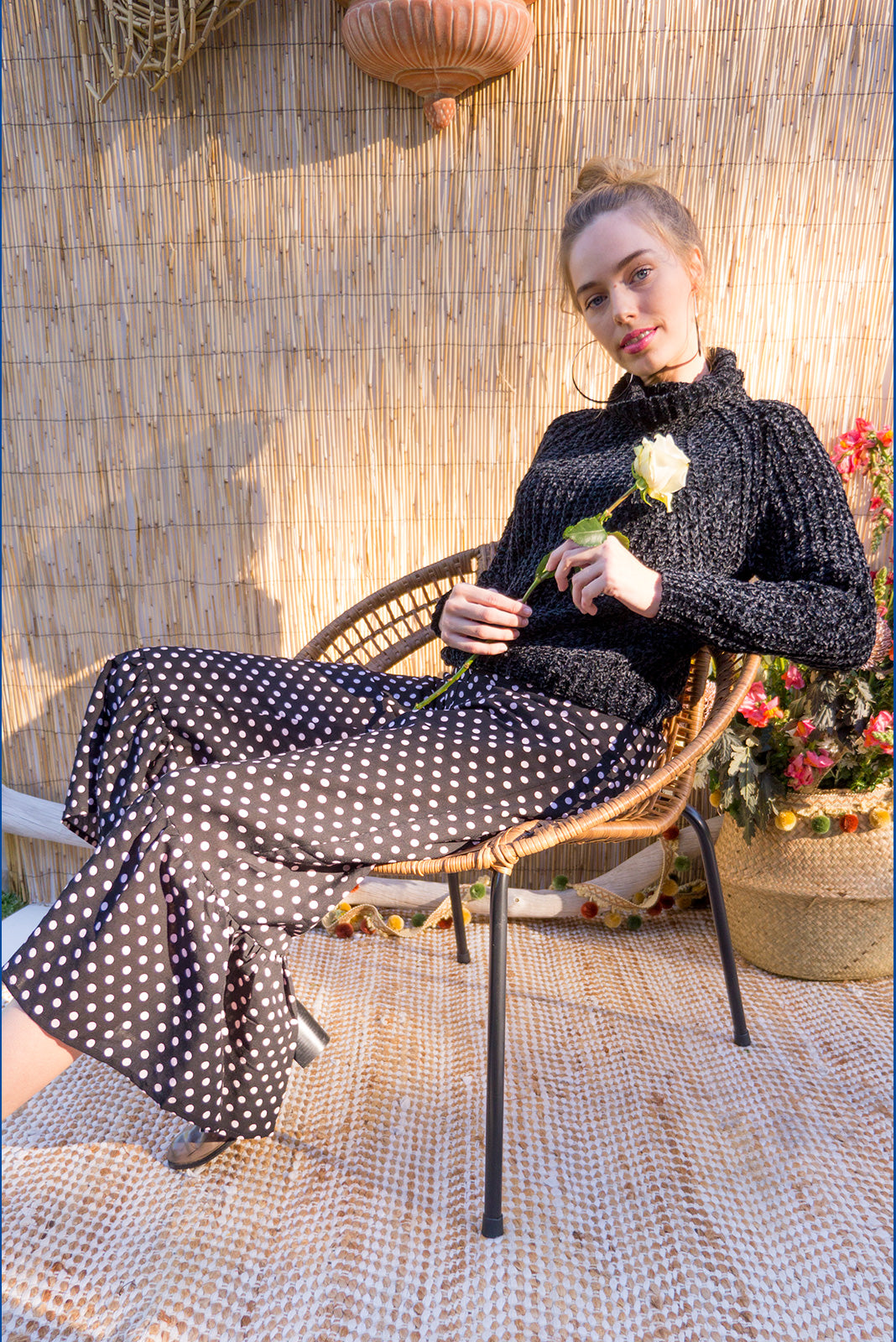 Wandering Pants Black Spot Square feature a slim leg with a wide frill around the hem for a retro vintage style, the black and blush spot design is printed onto woven rayon