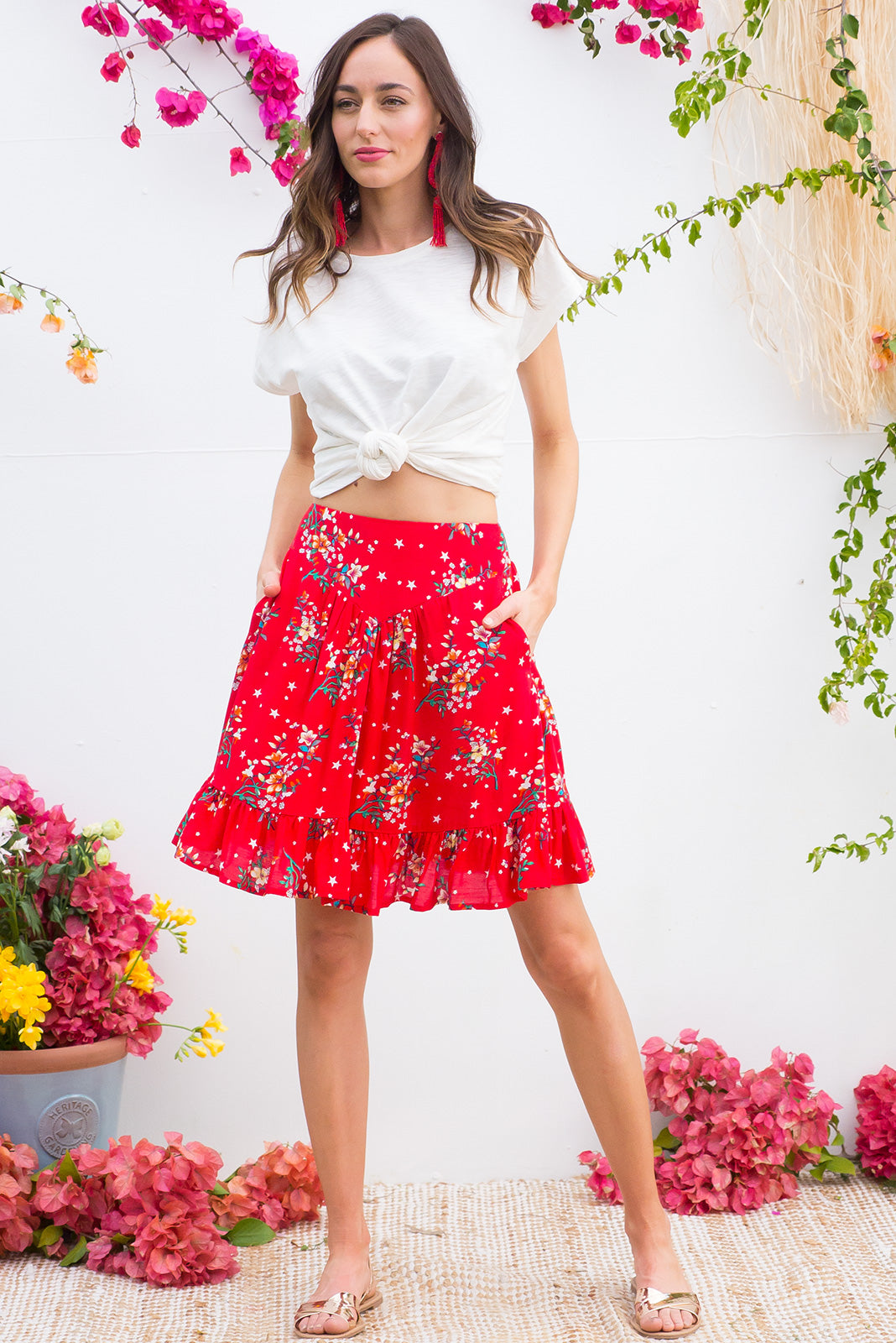 Waves Red Star Skirt with a soft ruched elastic back and pockets in a stunning bright red floral and stars print on woven 100% rayon
