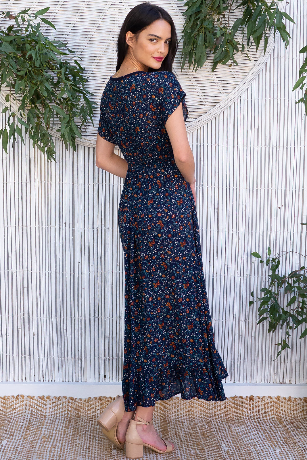 Willow Brae Navy Maxi Dress features V-neck with lace feature, elasticated waist with decorative tie, frill hem and textured woven 100% rayon in ink base with vintage floral print.