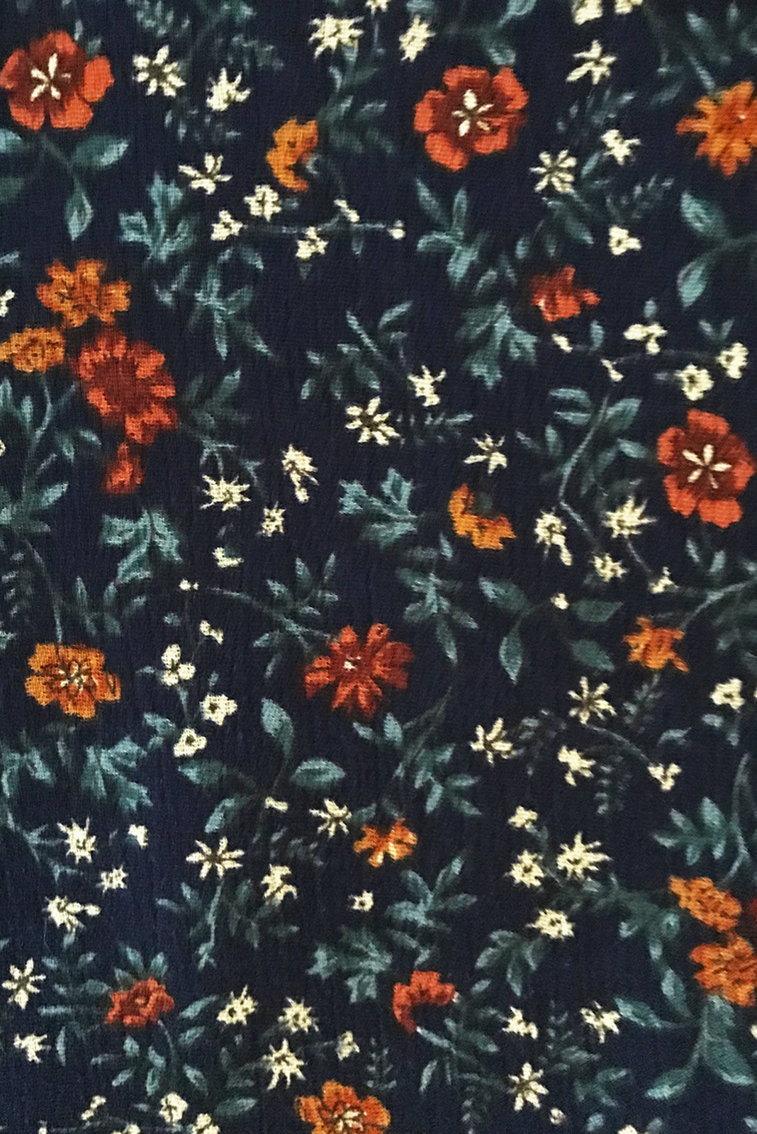 Fabric Swatch of Willow Brae Navy Maxi Dress featuring textured rayon in ink base with vintage floral print.
