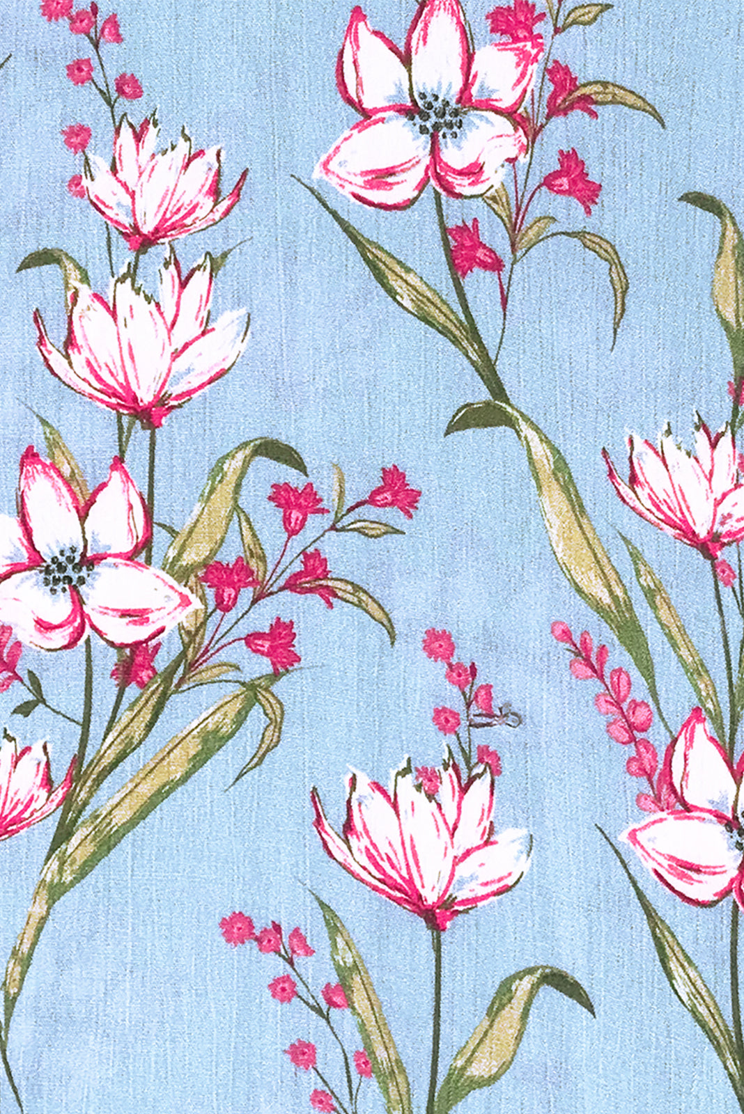 Fabric Swatch of Willow Misty Blue Maxi Dress featuring crinkle rayon in Sky blue base with floral print.