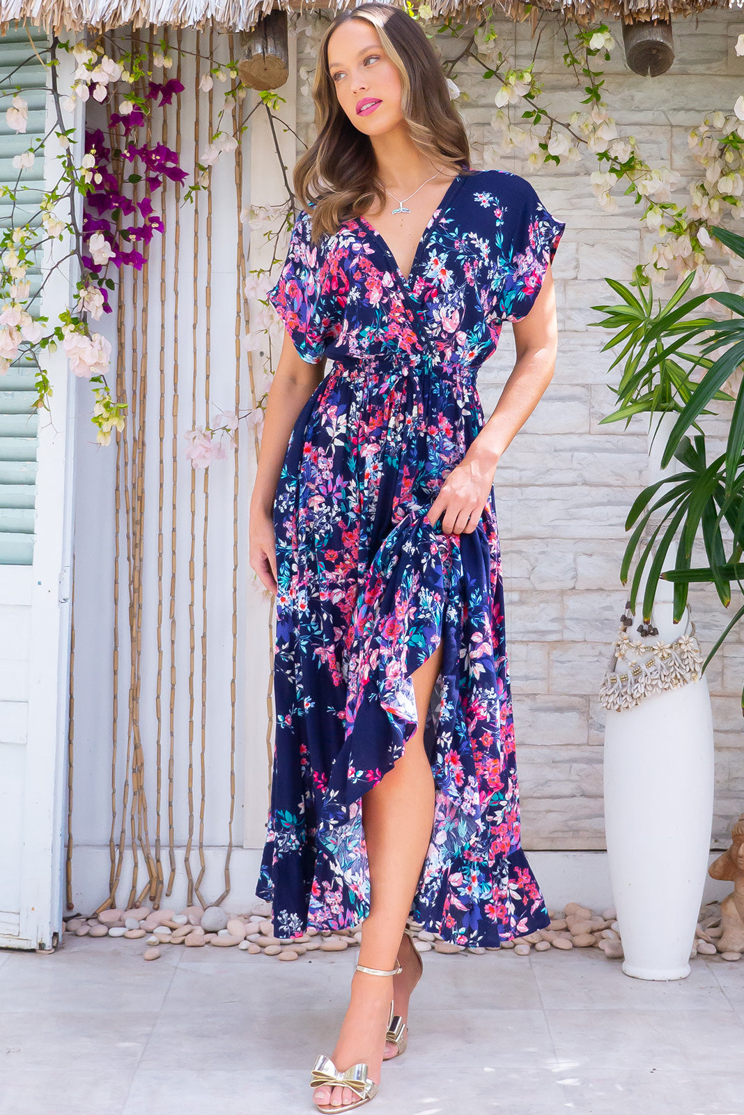 Willow Navy Splash Maxi Dress
