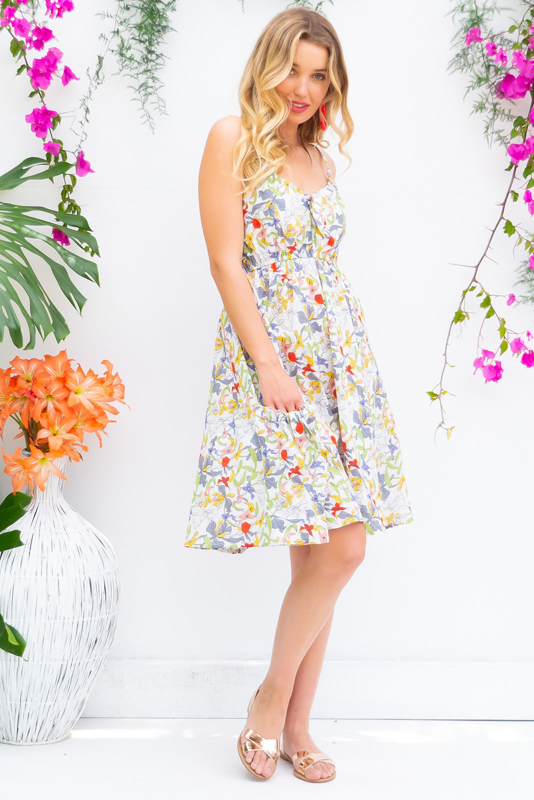 Windfall Bright Garden Dress in White woven 100% cotton with adjustable straps, drawstring bust and deep pockets