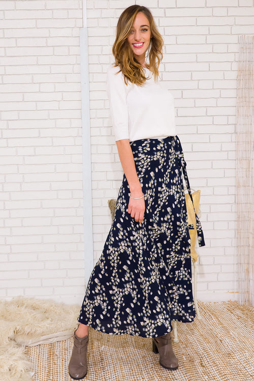 Winterberry Navy Leaves Maxi Wrap Skirt