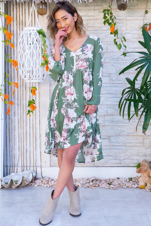Woodrose Wildgarden Green Dress