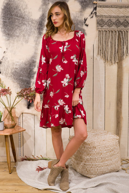 Alix Winter Lily Dress in Rose Red