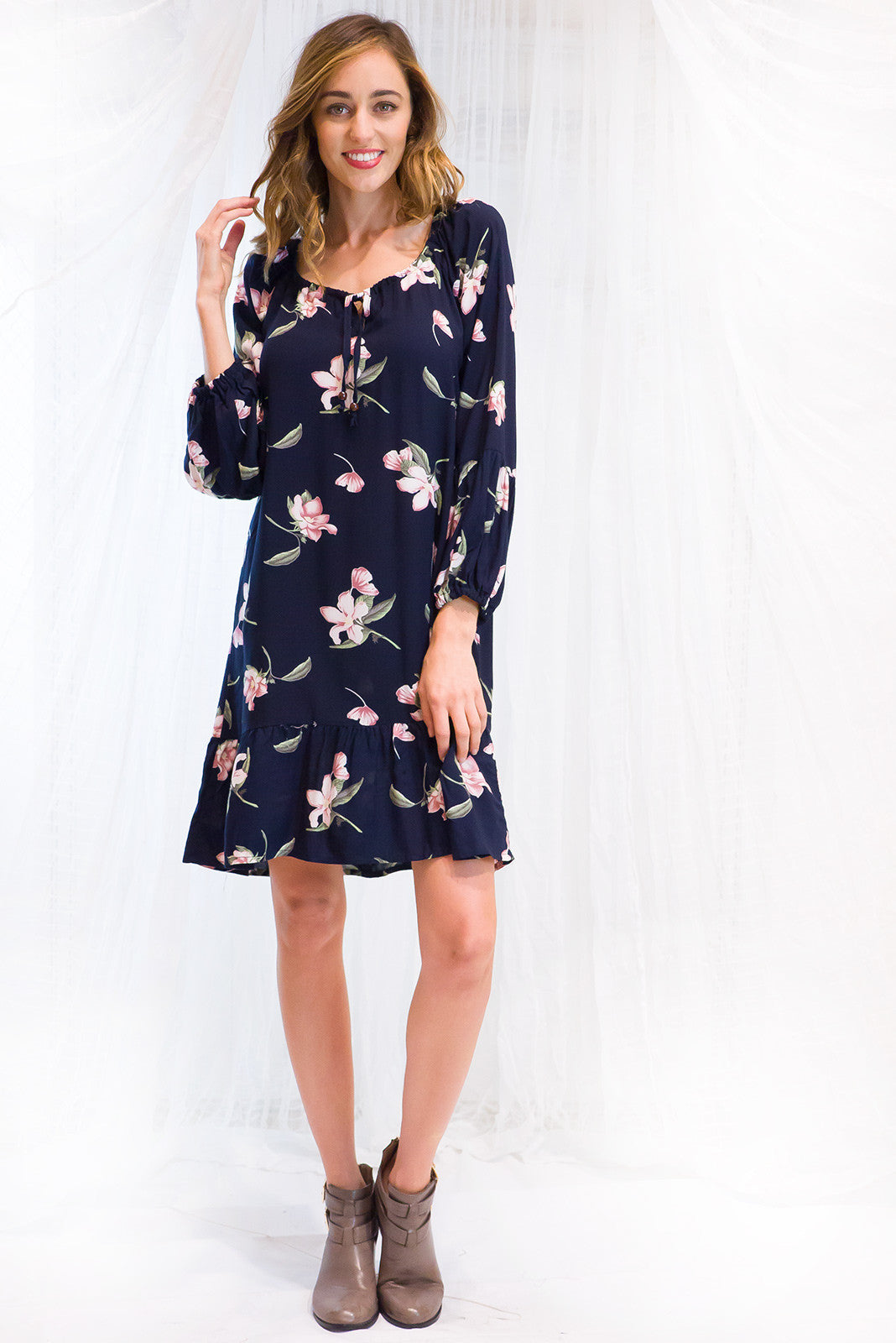 Dress Alix Winter Lily in dark navy