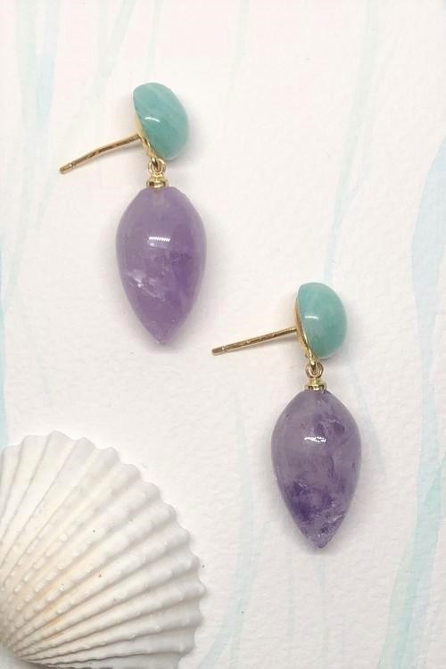 Earrings Ado Yves Amethyst and Amazonite are green mint quartz drop style earrings featuring approximately 2.5cm length, gold colour stud back, amethyst droplets held by spheres of amazonite.
