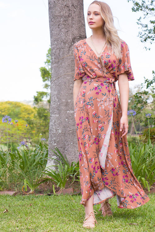Cinnamon Sienna Wrap Maxi Dress