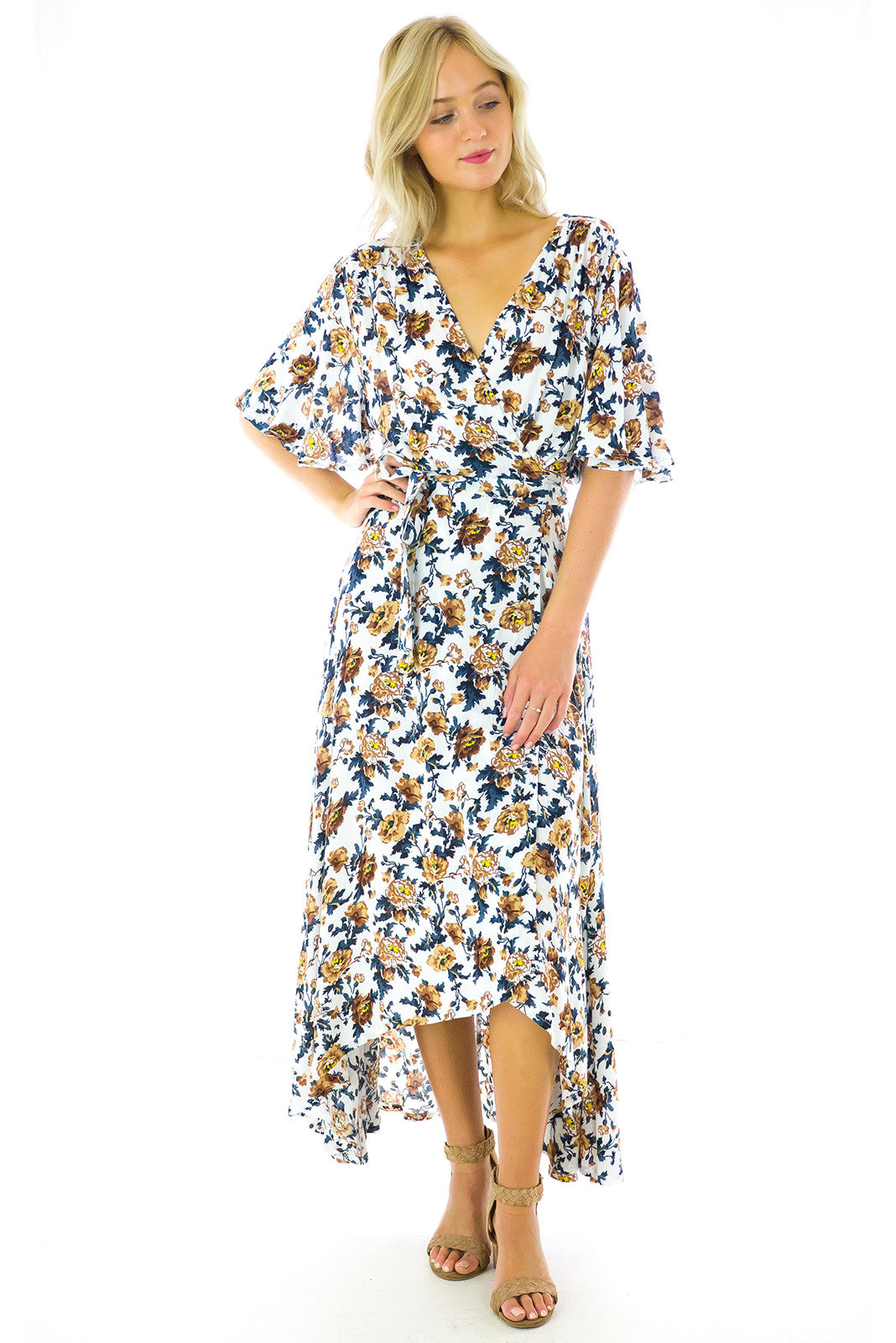 Blooms Maxi Wrap Dress, romantic floral print, wraparound style