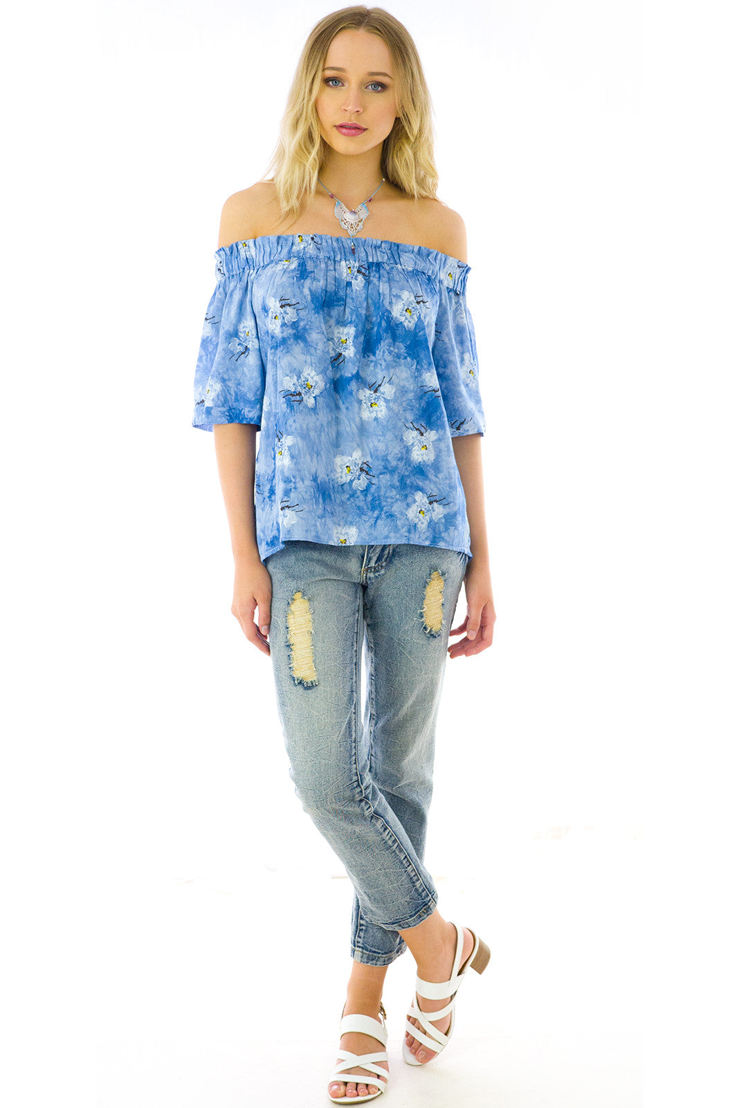 Off the shoulder day tripper top in blue floral
