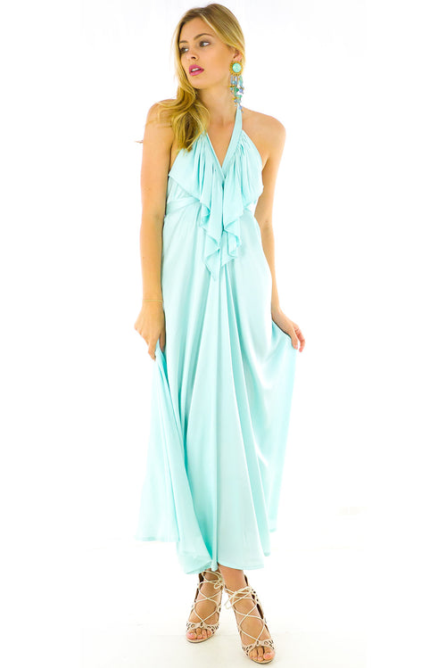 Belle Starr Maxi Dress in Fiji Sea Blue Satin