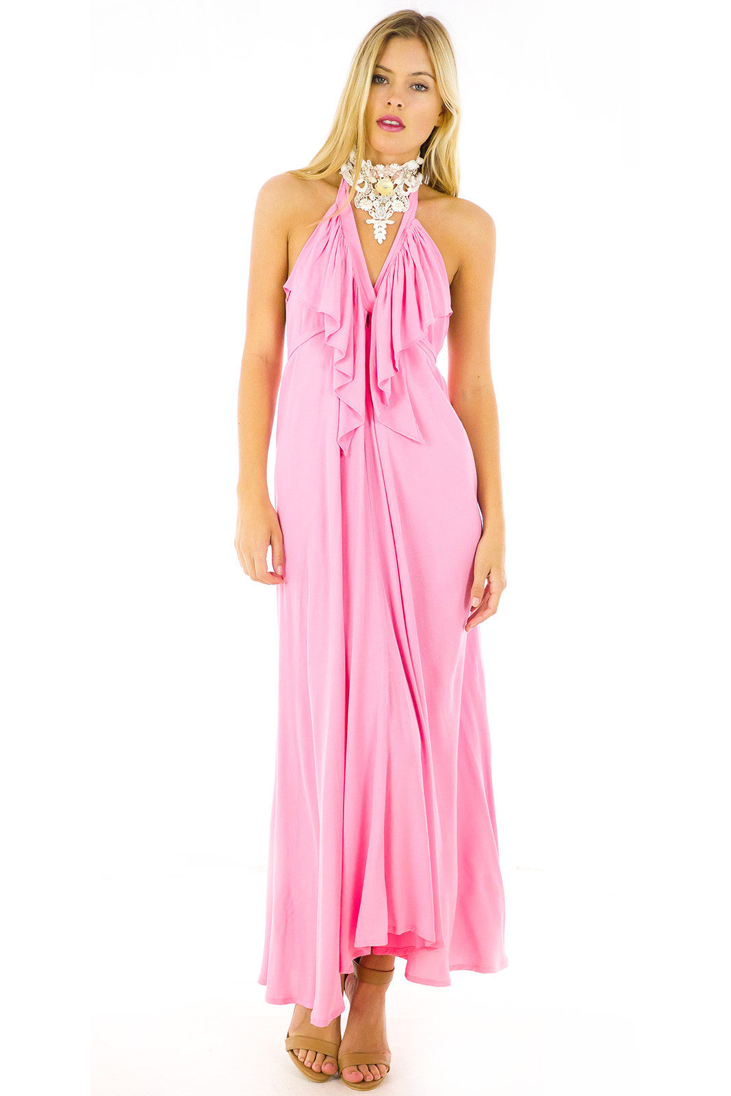 Candy Pink Belle Starr Maxi Dress backless dress party dress